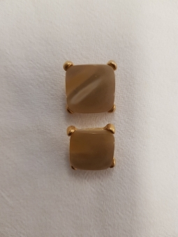 Perlmuttknopf,eckig, gold-eingefasst